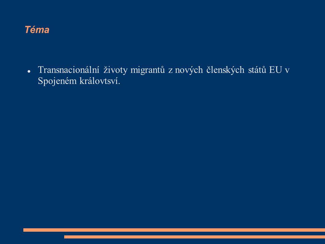 Téma Transnacionální životy migrantů z nových členských států EU v Spojeném královtsví.