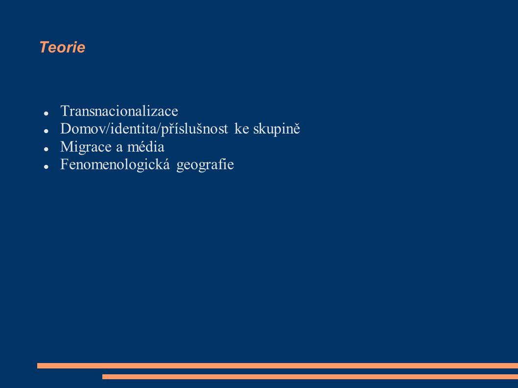 Teorie Transnacionalizace Domov/identita/příslušnost ke skupině Migrace a média Fenomenologická geografie