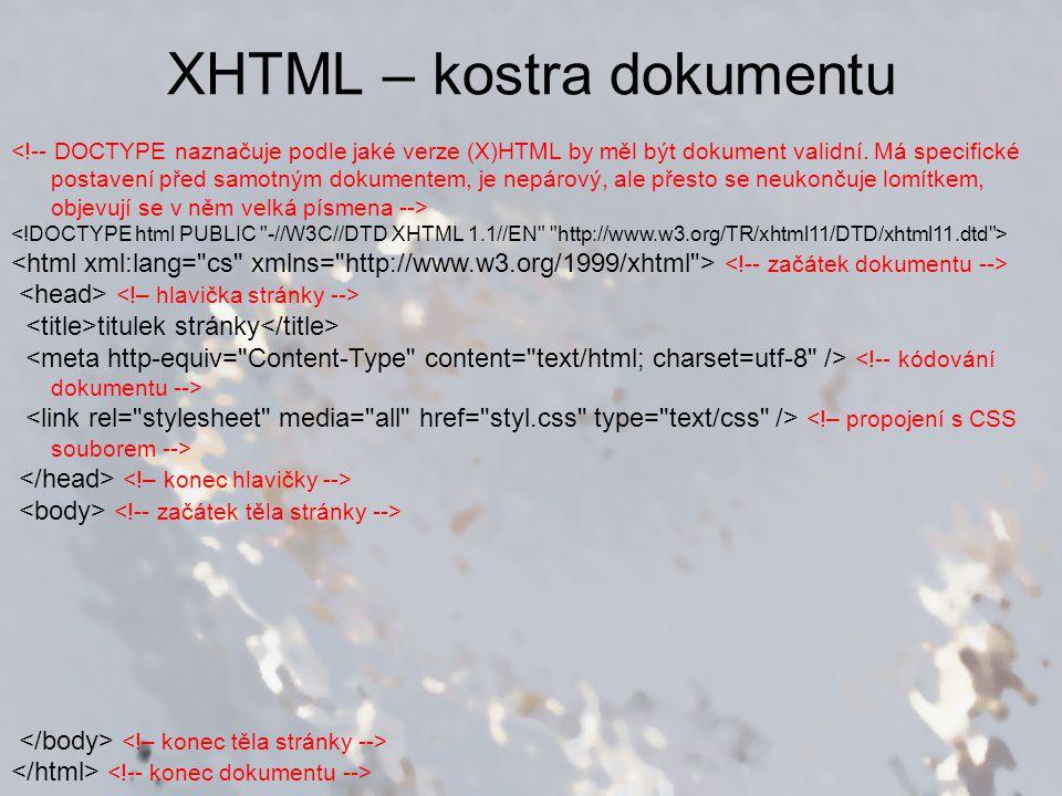 XHTML – kostra dokumentu titulek stránky