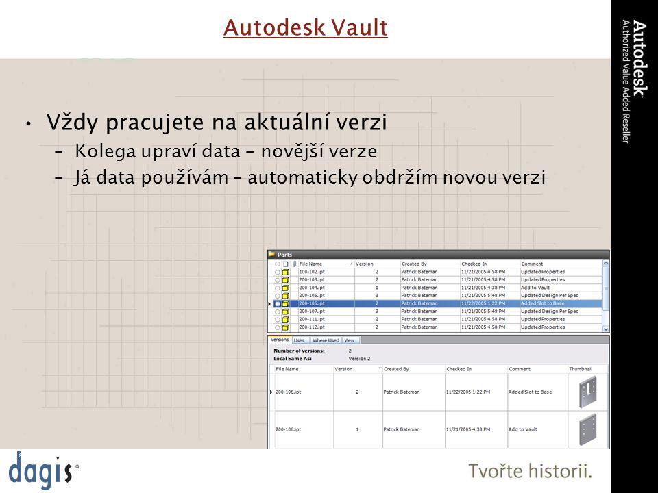 Vždy pracujete na aktuální verzi –Kolega upraví data – novější verze –Já data používám – automaticky obdržím novou verzi Autodesk Vault
