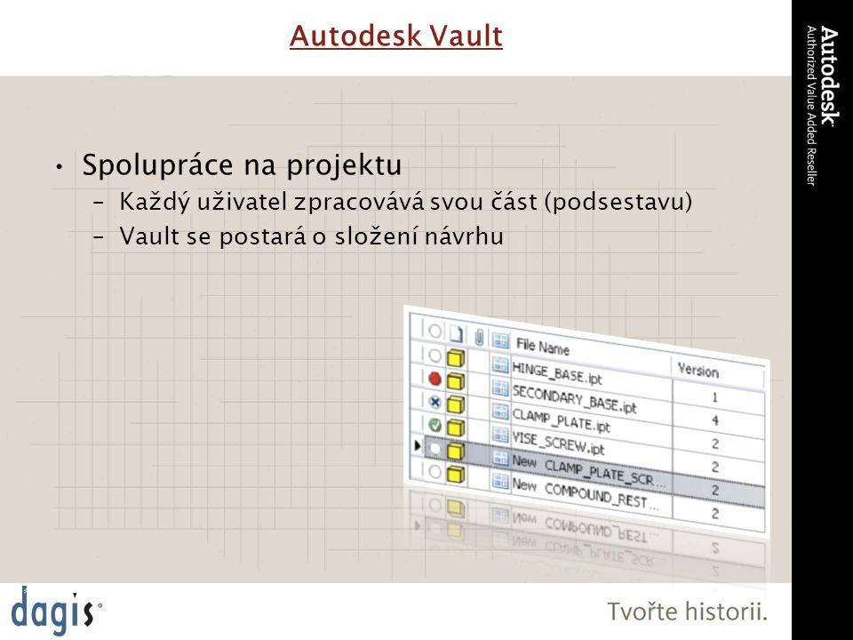 Spolupráce na projektu –Každý uživatel zpracovává svou část (podsestavu) –Vault se postará o složení návrhu Autodesk Vault