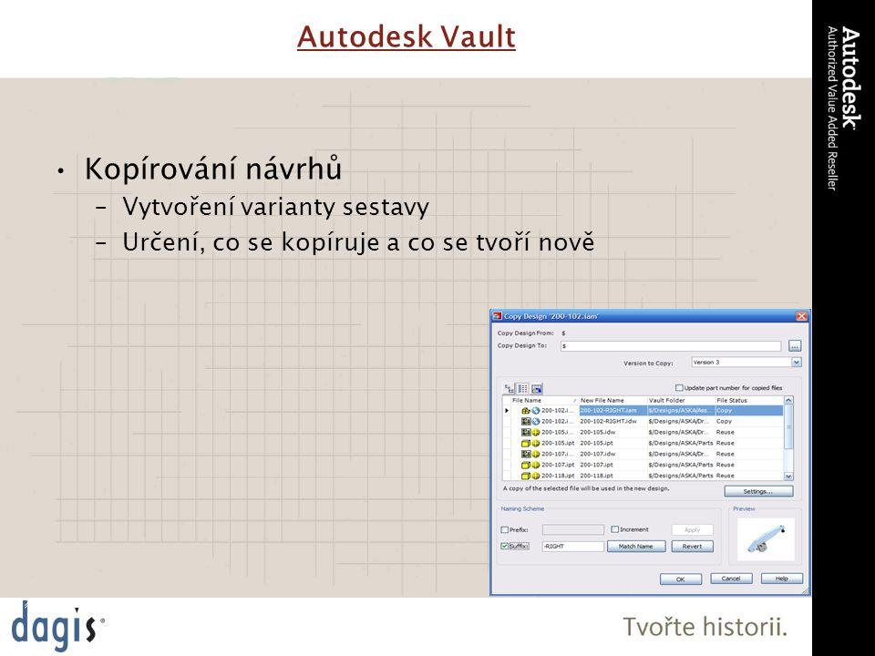 Kopírování návrhů –Vytvoření varianty sestavy –Určení, co se kopíruje a co se tvoří nově Autodesk Vault
