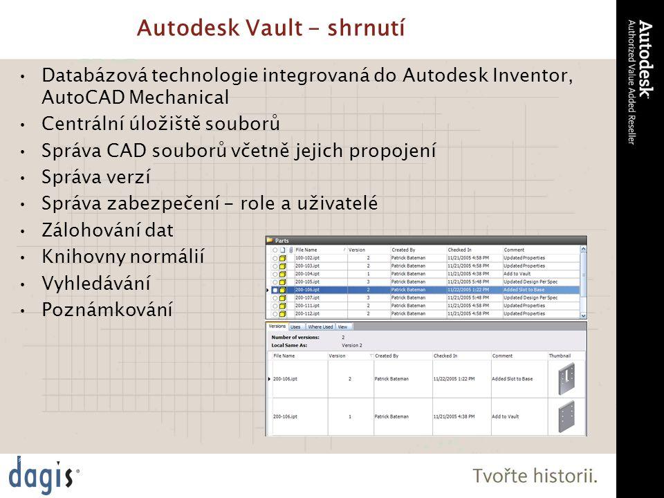 Autodesk Vault - shrnutí Databázová technologie integrovaná do Autodesk Inventor, AutoCAD Mechanical Centrální úložiště souborů Správa CAD souborů včetně jejich propojení Správa verzí Správa zabezpečení - role a uživatelé Zálohování dat Knihovny normálií Vyhledávání Poznámkování