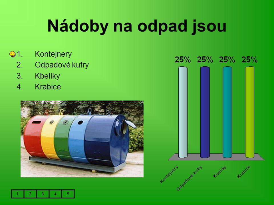 Nádoby na odpad jsou 12345 1.Kontejnery 2.Odpadové kufry 3.Kbelíky 4.Krabice