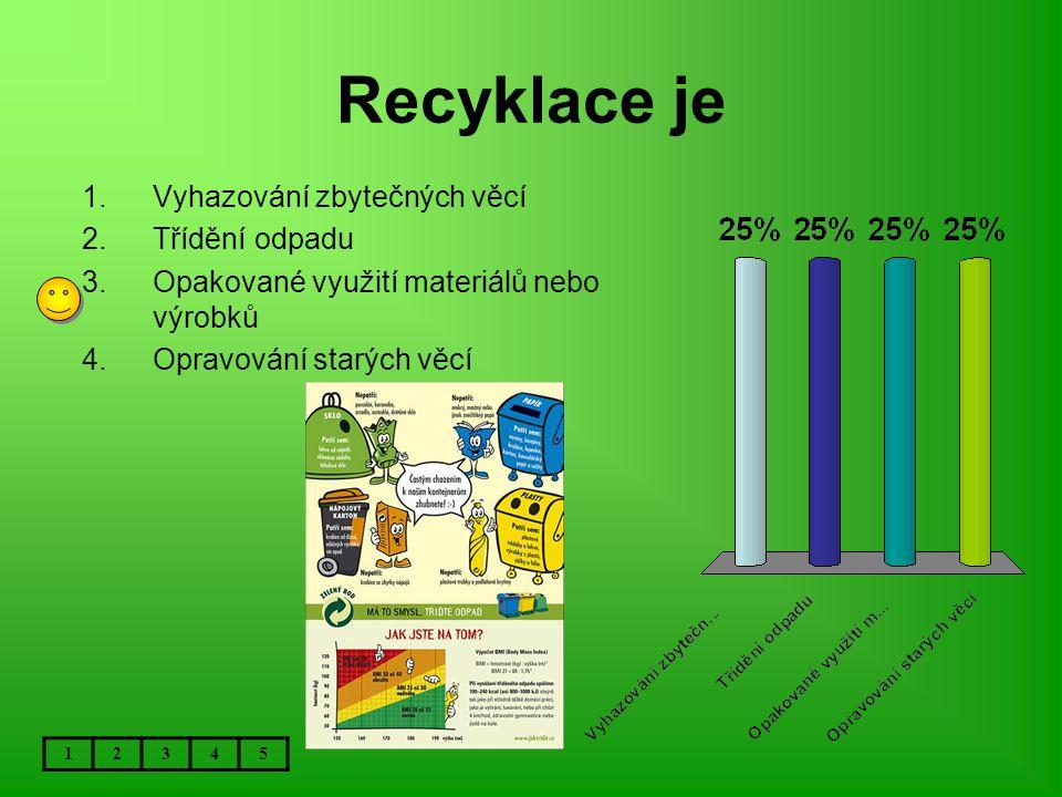 Recyklace je 12345 1.Vyhazování zbytečných věcí 2.Třídění odpadu 3.Opakované využití materiálů nebo výrobků 4.Opravování starých věcí