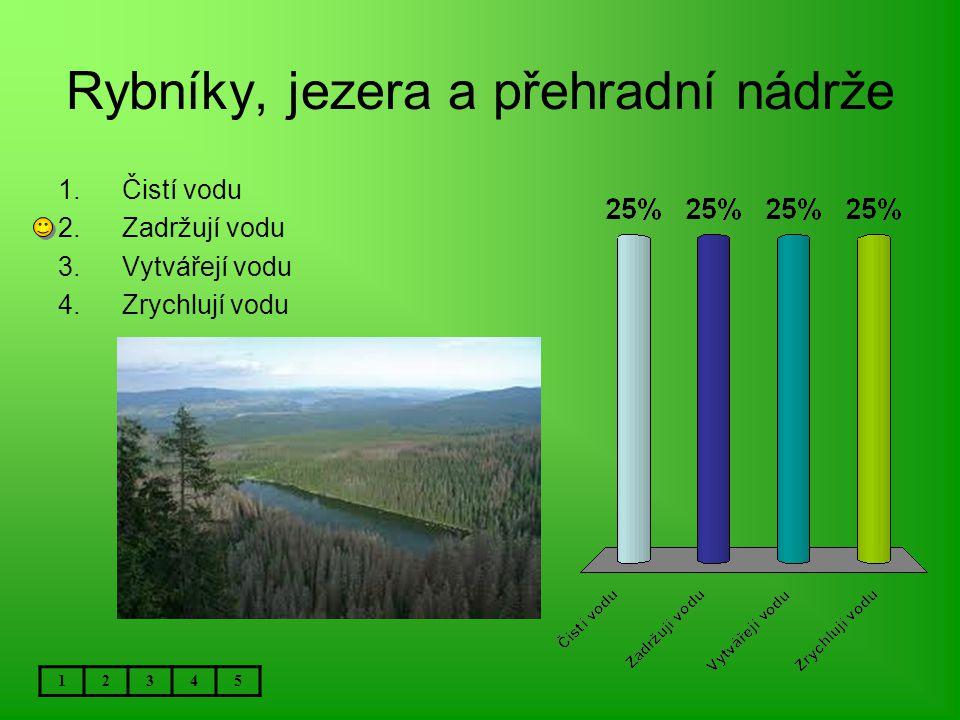Rybníky, jezera a přehradní nádrže 12345 1.Čistí vodu 2.Zadržují vodu 3.Vytvářejí vodu 4.Zrychlují vodu