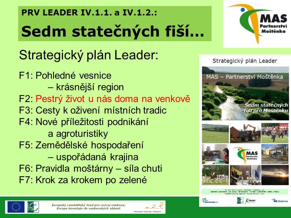 PRV LEADER IV.1.1. a IV.1.2.: Sedm statečných fiší… Strategický plán Leader: F1: Pohledné vesnice – krásnější region F2: Pestrý život u nás doma na ve