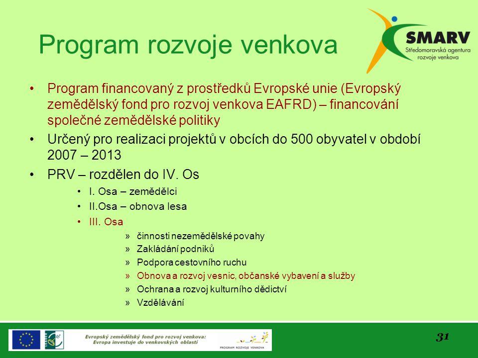 31 Program rozvoje venkova Program financovaný z prostředků Evropské unie (Evropský zemědělský fond pro rozvoj venkova EAFRD) – financování společné z