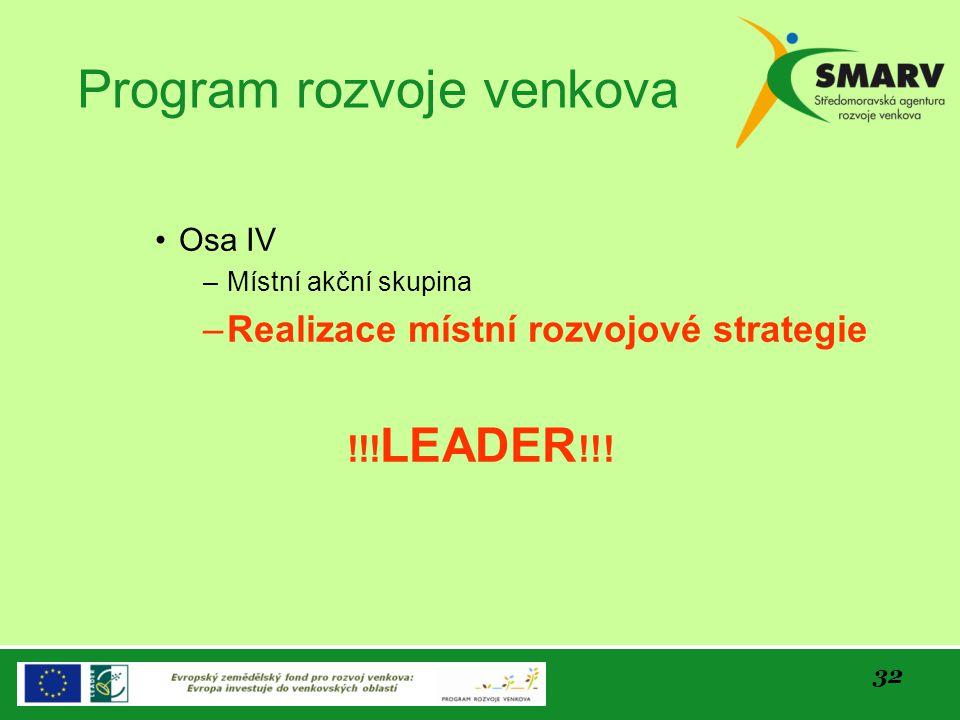 32 Program rozvoje venkova Osa IV –Místní akční skupina –Realizace místní rozvojové strategie !!! LEADER !!!