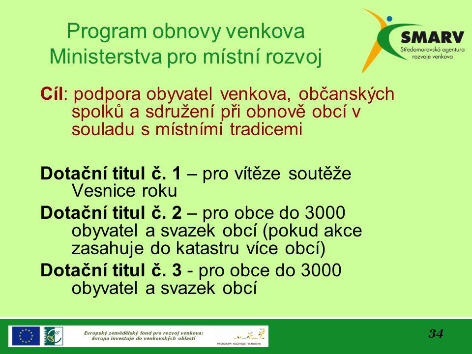 34 Program obnovy venkova Ministerstva pro místní rozvoj Cíl: podpora obyvatel venkova, občanských spolků a sdružení při obnově obcí v souladu s místn