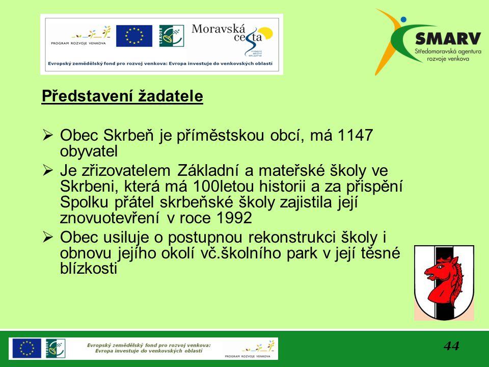 44 Představení žadatele  Obec Skrbeň je příměstskou obcí, má 1147 obyvatel  Je zřizovatelem Základní a mateřské školy ve Skrbeni, která má 100letou