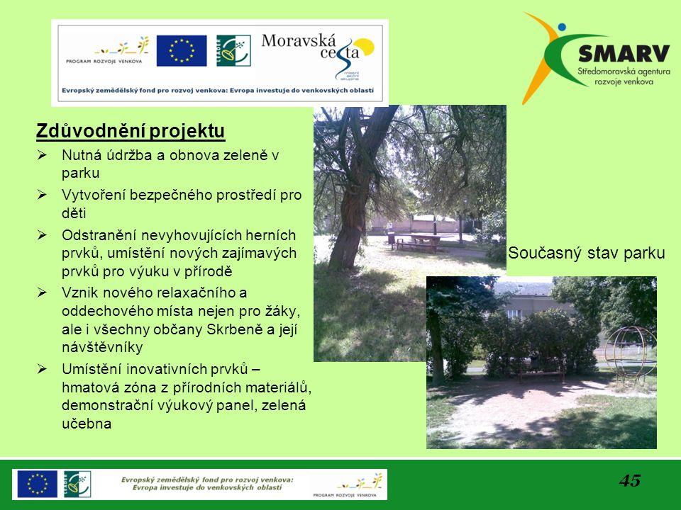 45 Zdůvodnění projektu  Nutná údržba a obnova zeleně v parku  Vytvoření bezpečného prostředí pro děti  Odstranění nevyhovujících herních prvků, umí