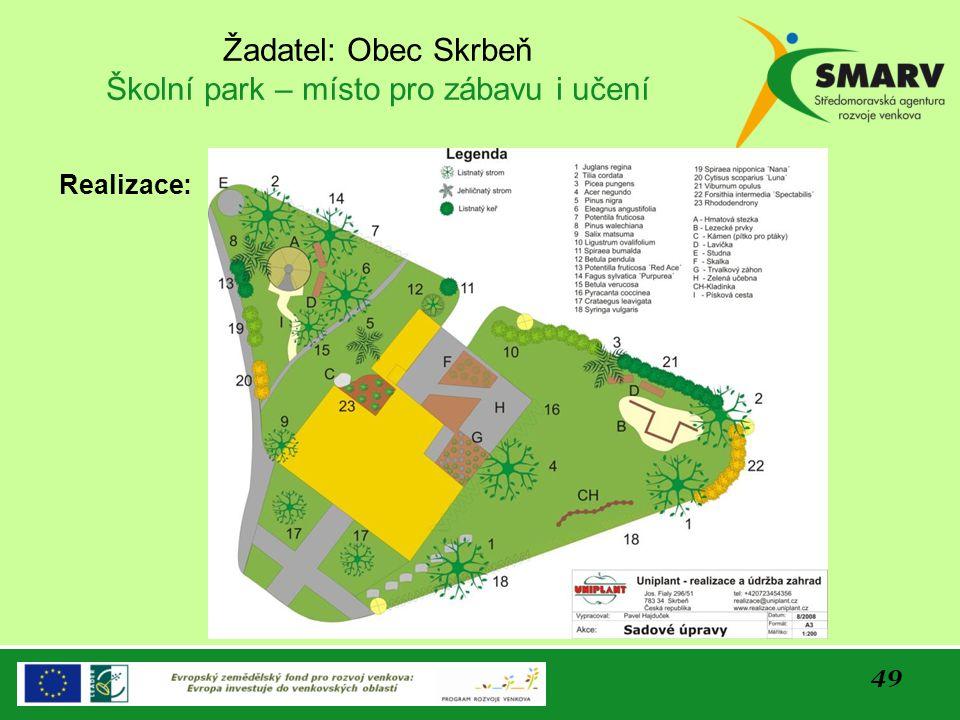 49 Žadatel: Obec Skrbeň Školní park – místo pro zábavu i učení Realizace: