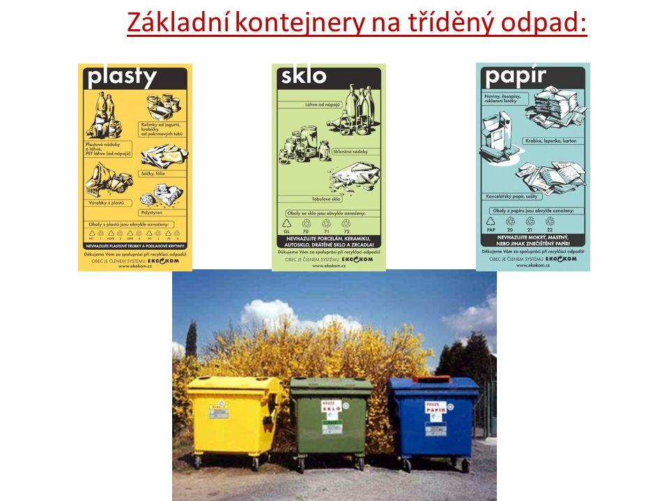 Základní kontejnery na tříděný odpad: