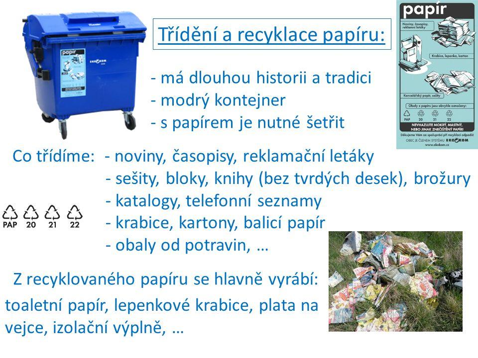 Třídění a recyklace papíru: Co třídíme: - noviny, časopisy, reklamační letáky - sešity, bloky, knihy (bez tvrdých desek), brožury - katalogy, telefonn