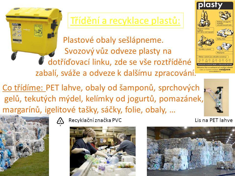 Lis na PET lahveRecyklační značka PVC Třídění a recyklace plastů: Plastové obaly sešlápneme. Svozový vůz odveze plasty na dotříďovací linku, zde se vš