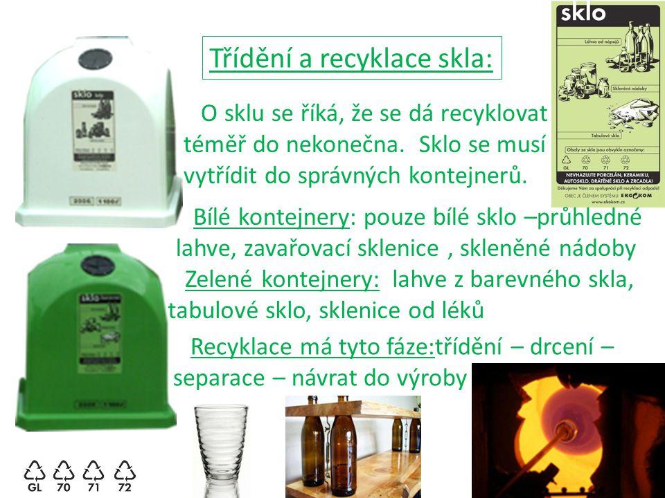 Třídění a recyklace skla: O sklu se říká, že se dá recyklovat téměř do nekonečna. Sklo se musí vytřídit do správných kontejnerů. Bílé kontejnery: pouz