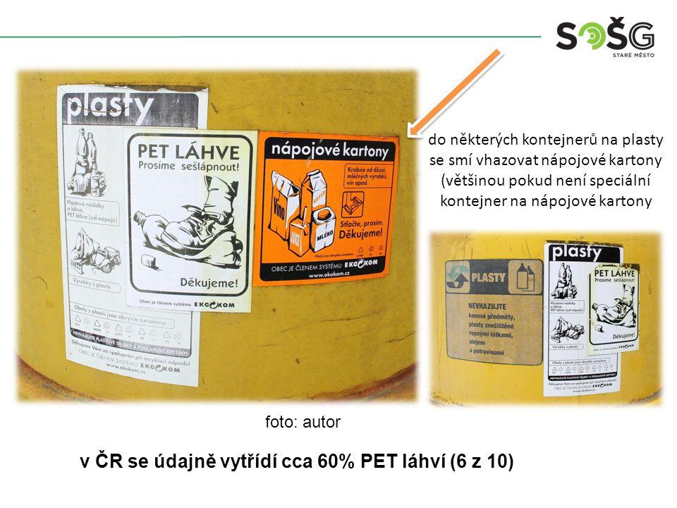 do některých kontejnerů na plasty se smí vhazovat nápojové kartony (většinou pokud není speciální kontejner na nápojové kartony v ČR se údajně vytřídí cca 60% PET láhví (6 z 10) foto: autor