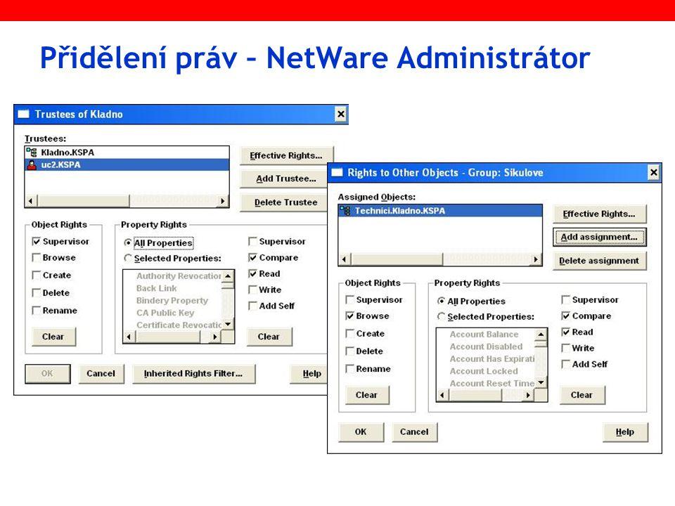 Přidělení práv – NetWare Administrátor