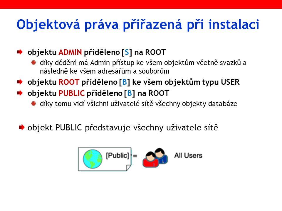 Objektová práva přiřazená při instalaci ADMIN objektu ADMIN přiděleno [S] na ROOT díky dědění má Admin přístup ke všem objektům včetně svazků a následně ke všem adresářům a souborům ROOT objektu ROOT přiděleno [B] ke všem objektům typu USER PUBLIC objektu PUBLIC přiděleno [B] na ROOT díky tomu vidí všichni uživatelé sítě všechny objekty databáze objekt PUBLIC představuje všechny uživatele sítě