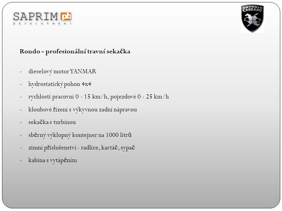 Rondo - profesionální travní seka č ka -dieselový motor YANMAR -hydrostatický pohon 4x4 -rychlosti pracovní 0 - 15 km/h, pojezdové 0 - 25 km/h -kloubo