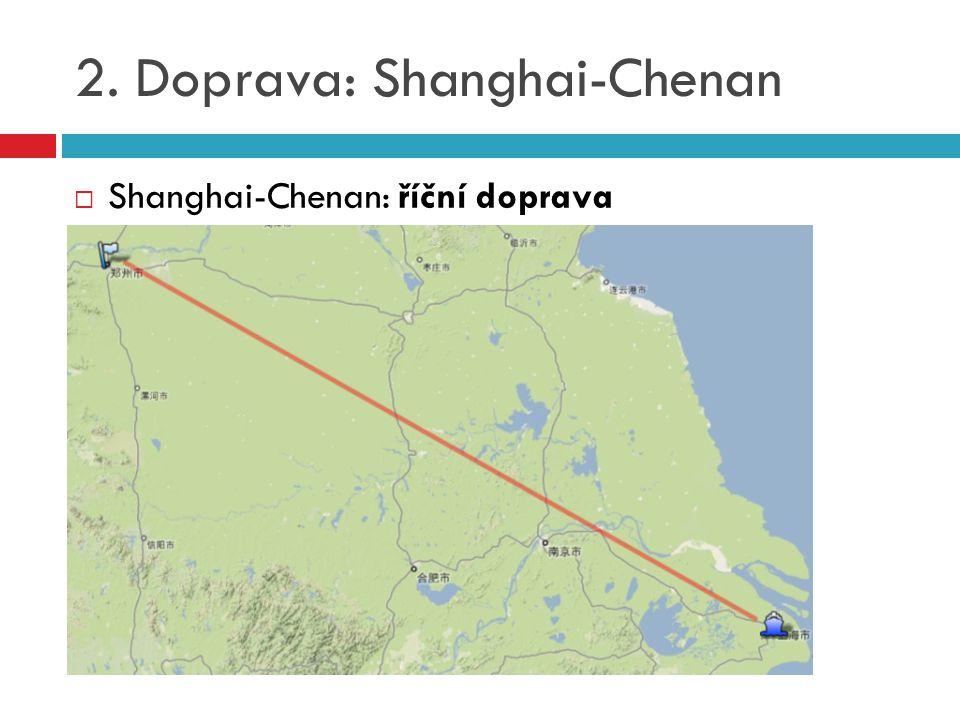 2. Doprava: Shanghai-Chenan  Shanghai-Chenan: říční doprava