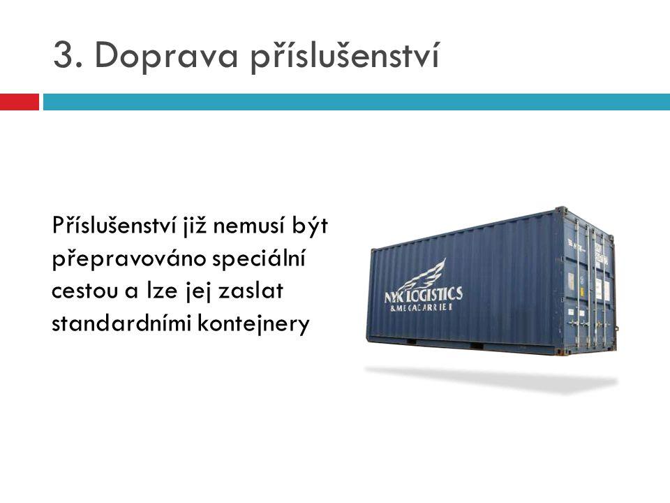 3. Doprava příslušenství Příslušenství již nemusí být přepravováno speciální cestou a lze jej zaslat standardními kontejnery