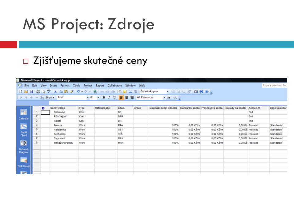 MS Project: Zdroje  Zjišťujeme skutečné ceny