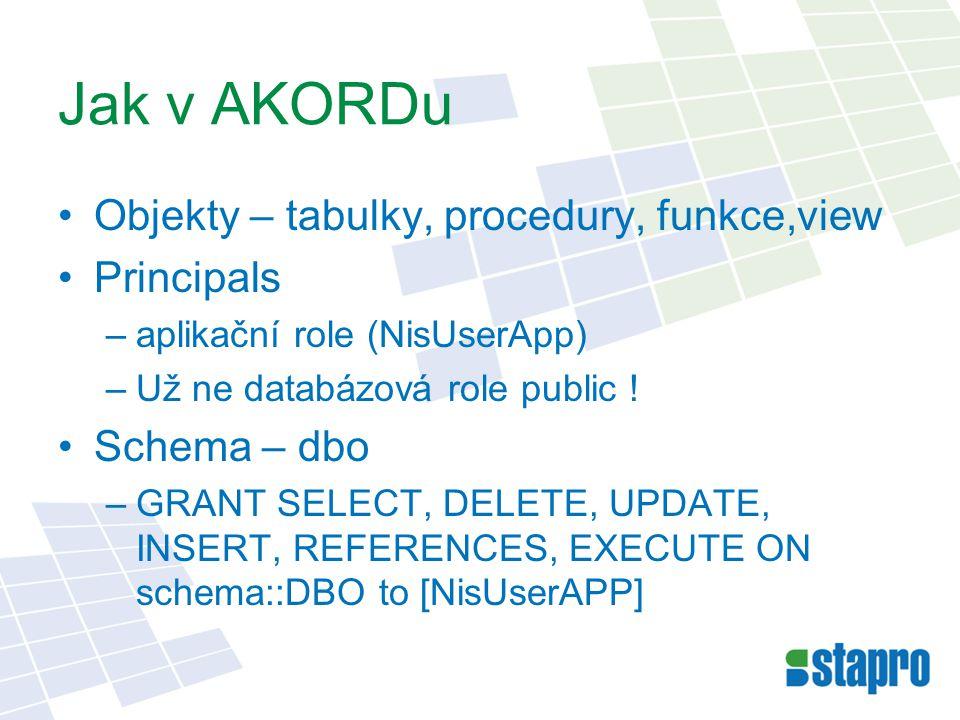 Jak v AKORDu Objekty – tabulky, procedury, funkce,view Principals –aplikační role (NisUserApp) –Už ne databázová role public .