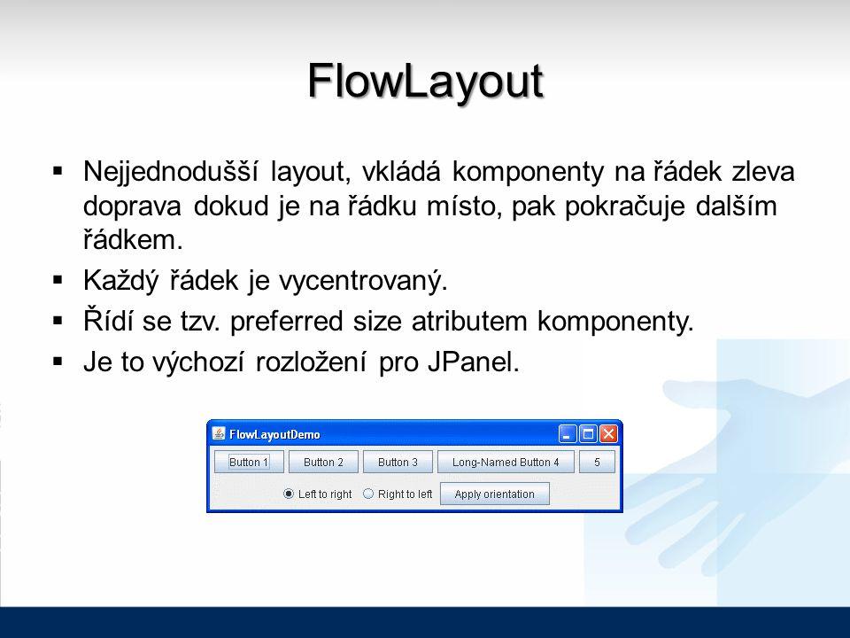 FlowLayout  Nejjednodušší layout, vkládá komponenty na řádek zleva doprava dokud je na řádku místo, pak pokračuje dalším řádkem.