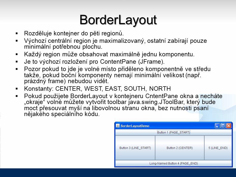 BorderLayout  Rozděluje kontejner do pěti regionů.