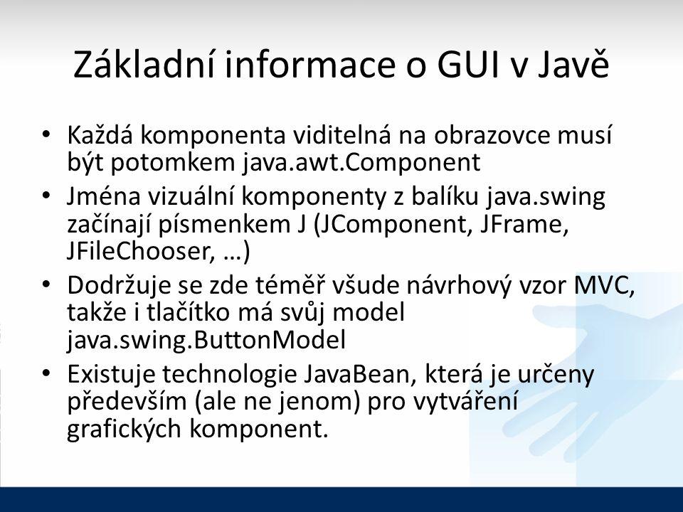 Základní informace o GUI v Javě Každá komponenta viditelná na obrazovce musí být potomkem java.awt.Component Jména vizuální komponenty z balíku java.swing začínají písmenkem J (JComponent, JFrame, JFileChooser, …) Dodržuje se zde téměř všude návrhový vzor MVC, takže i tlačítko má svůj model java.swing.ButtonModel Existuje technologie JavaBean, která je určeny především (ale ne jenom) pro vytváření grafických komponent.