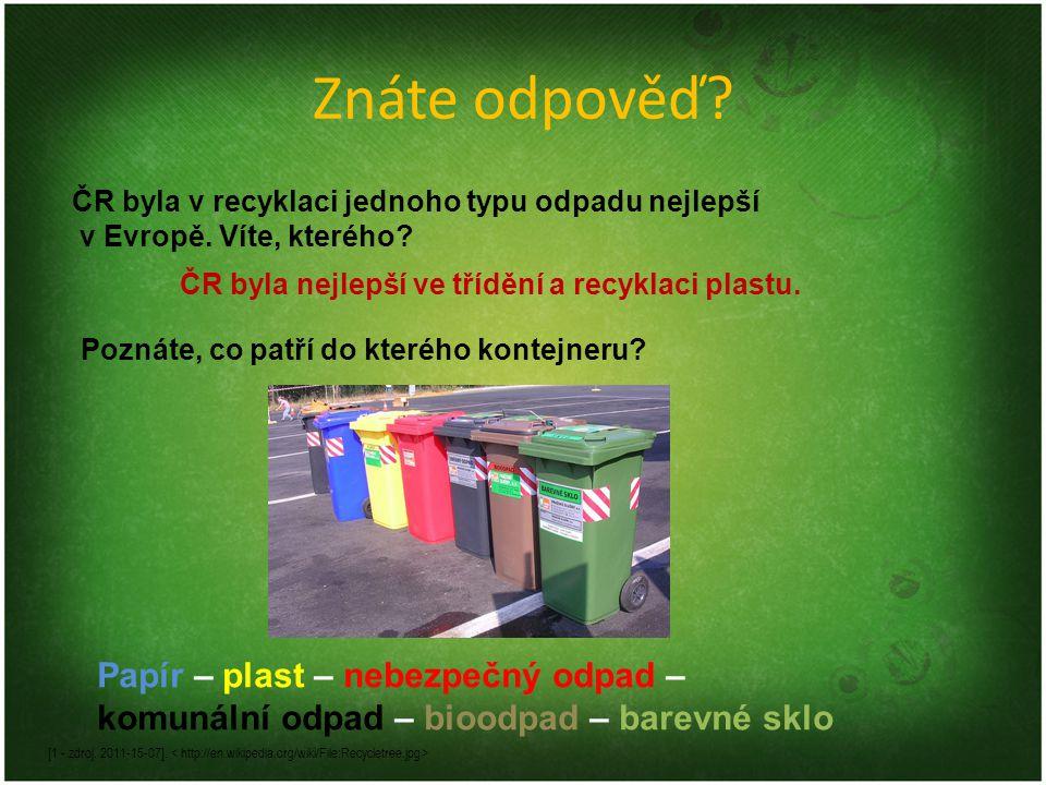 Znáte odpověď? ČR byla v recyklaci jednoho typu odpadu nejlepší v Evropě. Víte, kterého? Poznáte, co patří do kterého kontejneru? Papír – plast – nebe