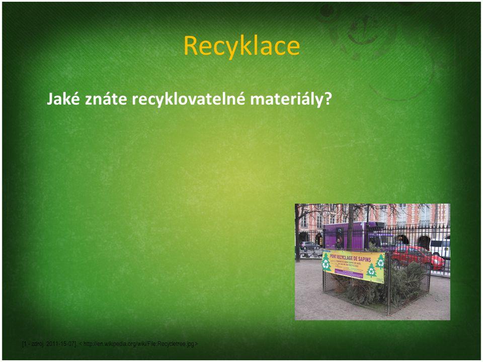 Recyklace Jaké znáte recyklovatelné materiály.