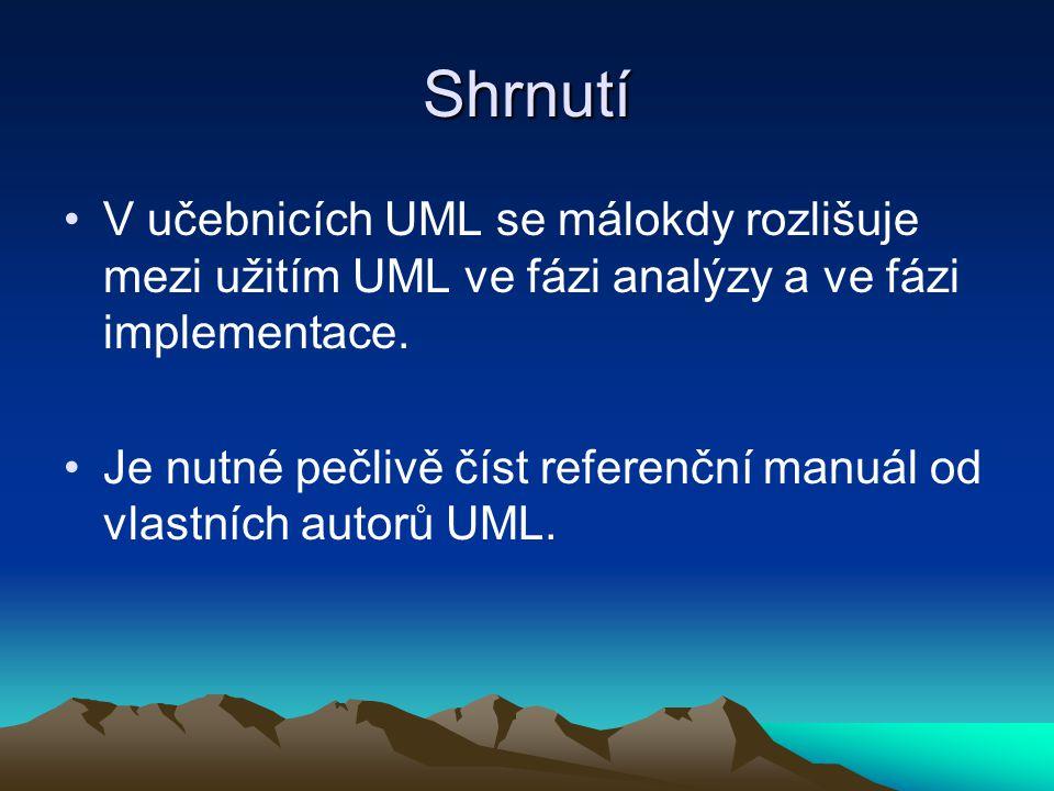 Shrnutí V učebnicích UML se málokdy rozlišuje mezi užitím UML ve fázi analýzy a ve fázi implementace.