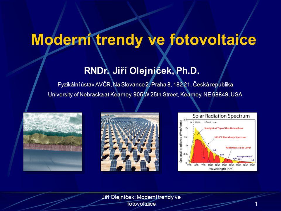 Jiří Olejníček: Moderní trendy ve fotovoltaice12 Solární články na bázi CuInSe 2 ÚčinnostZakázaný pásPoměr X/(In+X) CuInSe 2 (CIS)14,1%1,04 eV0,00 CuIn 1-x Ga x Se 2 (CIGS)19,5%1,14 eV0,26 CuIn 1-x Al x Se 2 (CIAS)16,9%1,15 eV0,13 CuIn 1-x B x Se 2 (CIBS)???