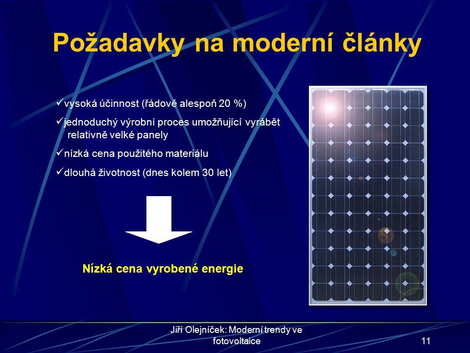 Jiří Olejníček: Moderní trendy ve fotovoltaice11 Požadavky na moderní články vysoká účinnost (řádově alespoň 20 %) jednoduchý výrobní proces umožňujíc