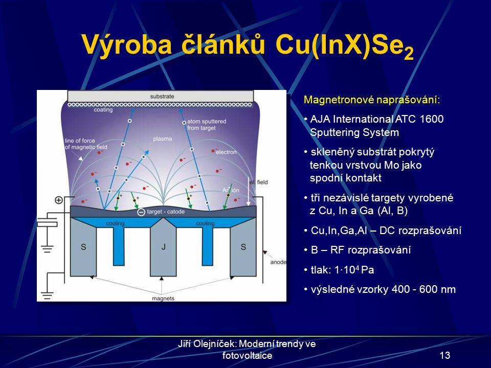 Jiří Olejníček: Moderní trendy ve fotovoltaice13 Výroba článků Cu(InX)Se 2 Magnetronové naprašování: AJA International ATC 1600 Sputtering System skle