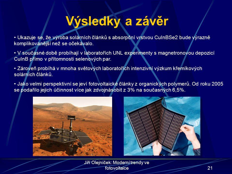 Jiří Olejníček: Moderní trendy ve fotovoltaice21 Výsledky a závěr Ukazuje se, že výroba solárních článků s absorpční vrstvou CuInBSe2 bude výrazně kom