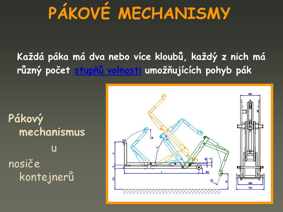 PÁKOVÉ MECHANISMY Každá páka má dva nebo více kloubů, každý z nich má různý počet stupňů volnosti umožňujících pohyb pák Pákový mechanismus u nosiče k