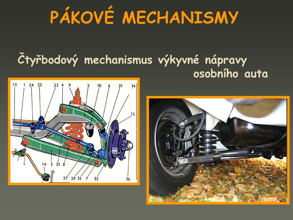 PÁKOVÉ MECHANISMY Čtyřbodový mechanismus výkyvné nápravy osobního auta