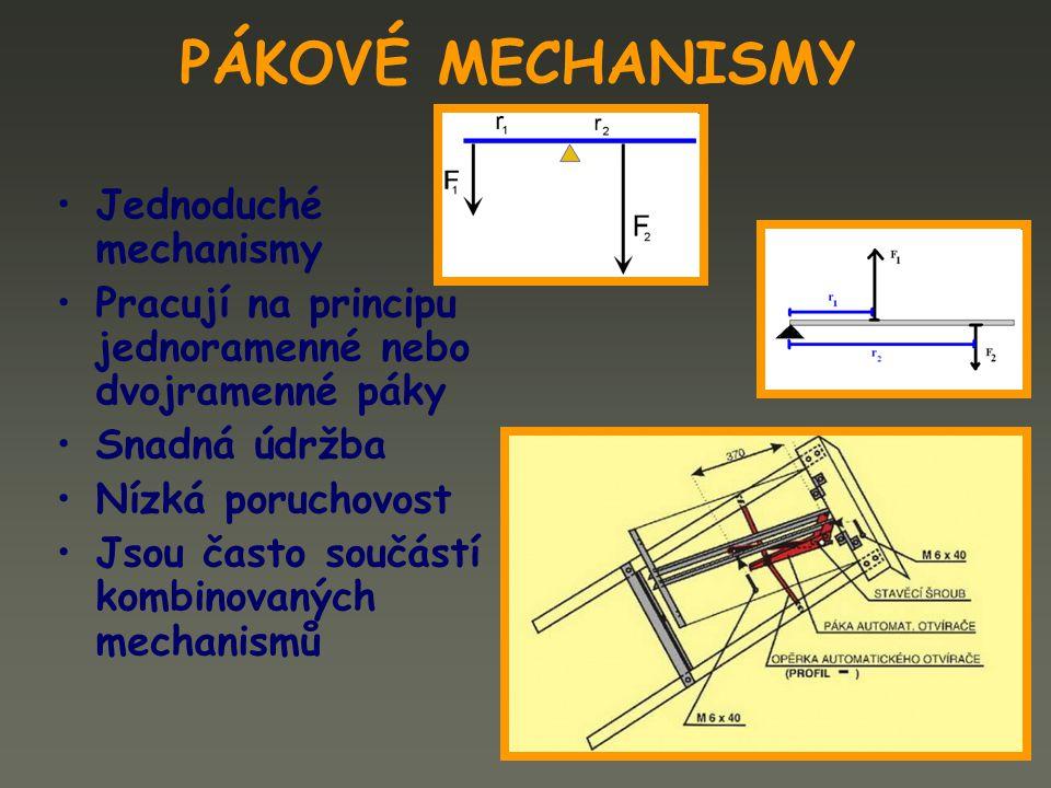 PÁKOVÉ MECHANISMY Jednoduché mechanismy Pracují na principu jednoramenné nebo dvojramenné páky Snadná údržba Nízká poruchovost Jsou často součástí kom