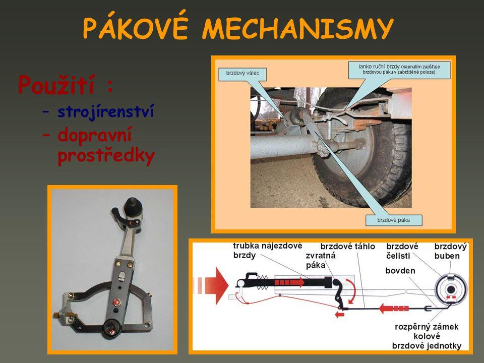 PÁKOVÉ MECHANISMY Použití : –strojírenství upínací prvky součást přípravků a nářadí