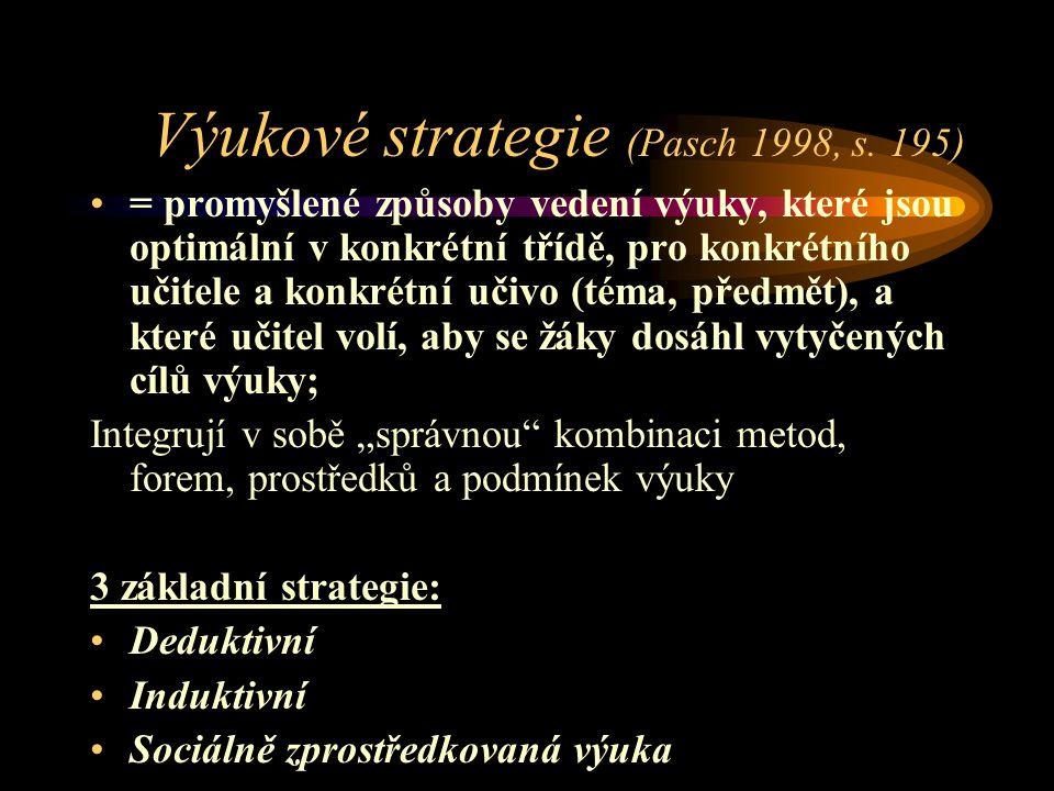 Výukové strategie (Pasch 1998, s.