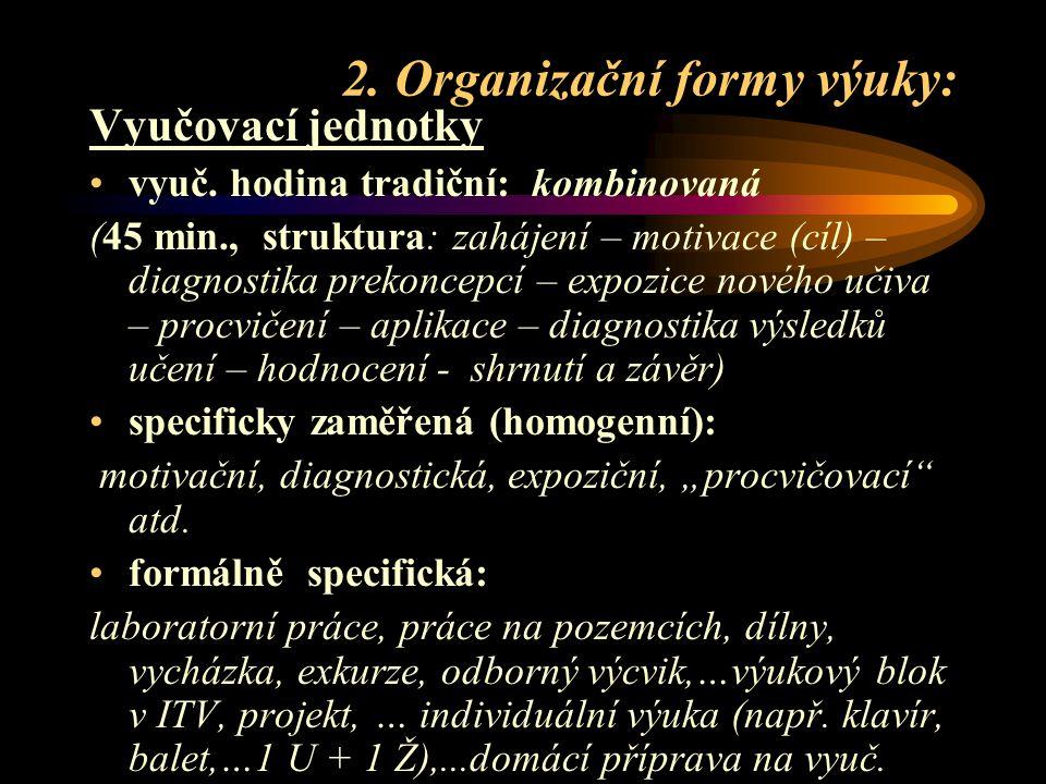 2.Organizační formy výuky: Vyučovací jednotky vyuč.
