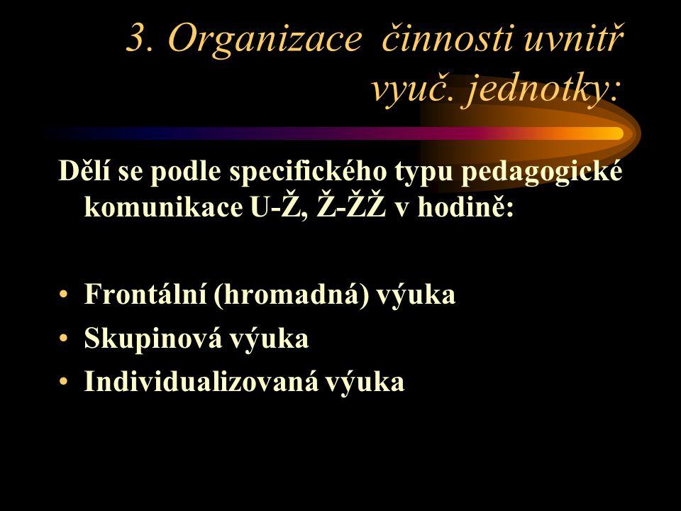 3.Organizace činnosti uvnitř vyuč.