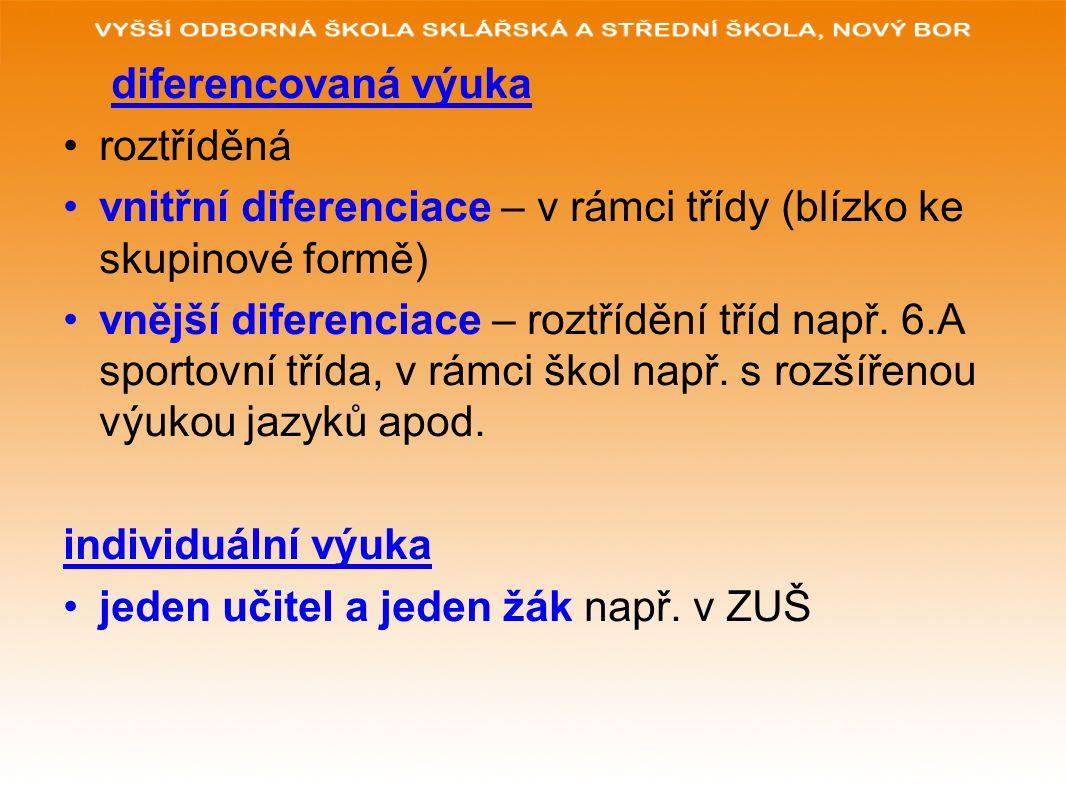 diferencovaná výuka roztříděná vnitřní diferenciace – v rámci třídy (blízko ke skupinové formě) vnější diferenciace – roztřídění tříd např. 6.A sporto