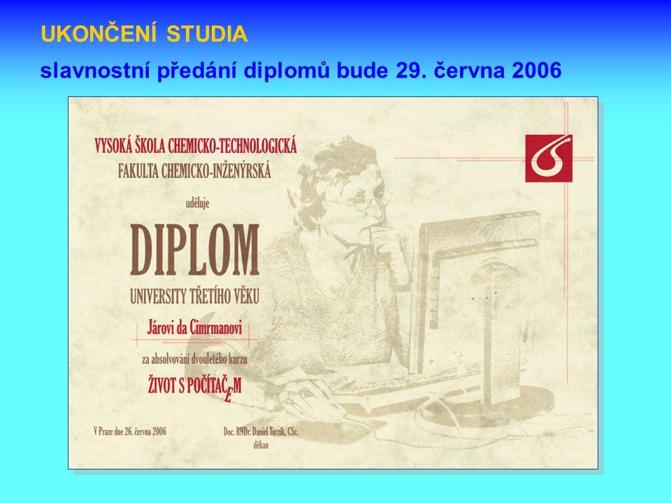 UKONČENÍ STUDIA slavnostní předání diplomů bude 29. června 2006