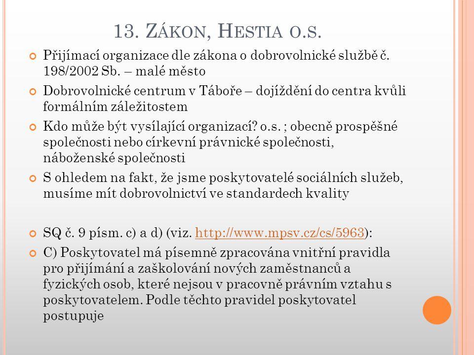 13. Z ÁKON, H ESTIA O. S. Přijímací organizace dle zákona o dobrovolnické službě č.