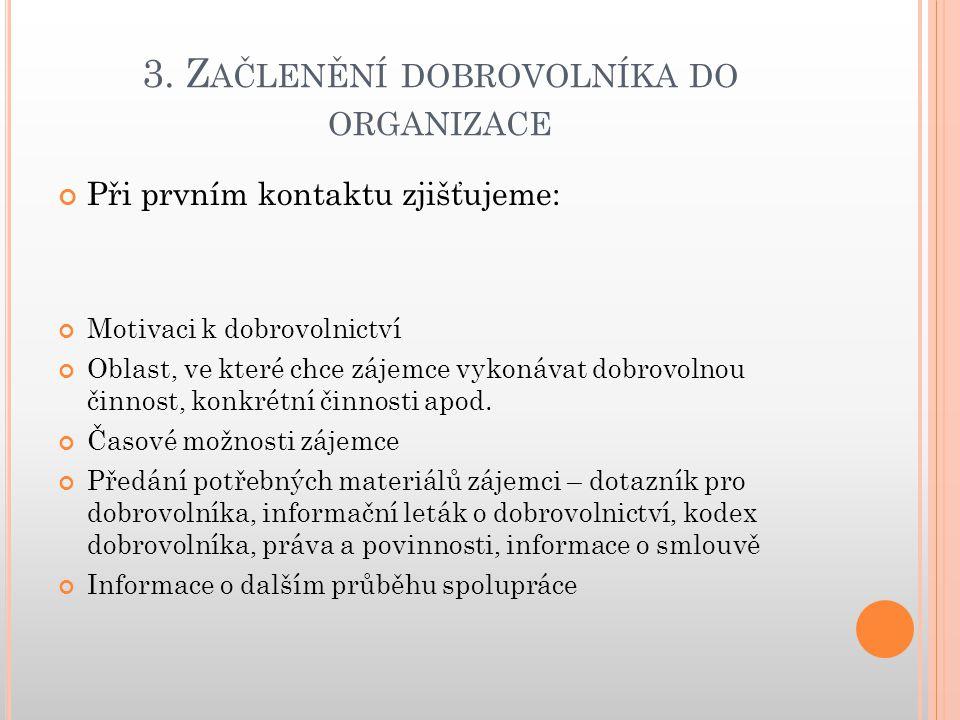 3. Z AČLENĚNÍ DOBROVOLNÍKA DO ORGANIZACE Při prvním kontaktu zjišťujeme: Motivaci k dobrovolnictví Oblast, ve které chce zájemce vykonávat dobrovolnou